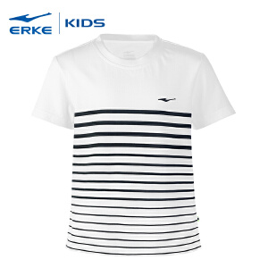 【低至2.5折 2件再8折】鸿星尔克童装新款儿童运动短袖T恤学生圆领条纹纯棉t恤衫