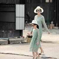 亲子 女装童装 抹茶绿蕾丝裙