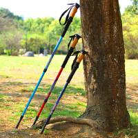 户外直握三节登山杖60%碳素超轻折叠手杖伸缩拐杖棍登山装备