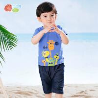 贝贝怡儿童短袖套装夏季新款童装短袖T恤哈伦裤五分裤192T345