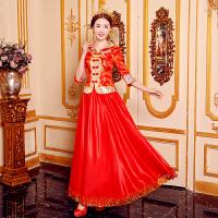 敬酒服春季2018新款 中式婚纱礼服 新娘结婚礼服红色旗袍古装嫁衣 5X
