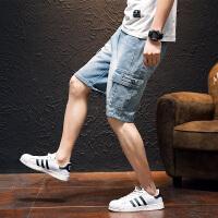 工装牛仔短裤男宽松夏季五分中裤5分多口袋直筒裤子潮流