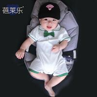 婴儿连体衣服新生儿宝宝季装0岁3个月2薄款短袖平角哈衣