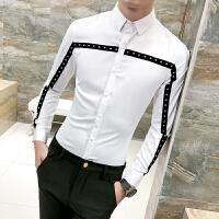 衬衫男长袖修身 韩版 潮流 帅气 青年学生韩版衣服男土个性白衬衣
