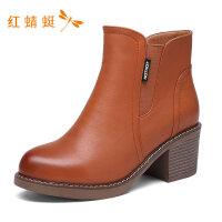 红蜻蜓新款高跟粗跟时尚短靴女WNC6394