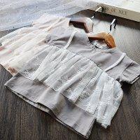 童装 女童蕾丝短袖T恤2018夏季新款韩版公主假两件套公主上衣