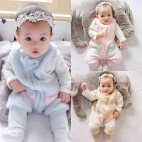 婴儿哈衣加绒外出宝宝保暖连体衣棉衣秋冬装加厚新生儿睡衣服冬季