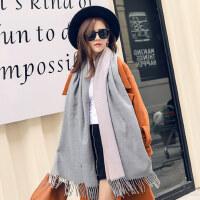 韩版百搭学生长款加厚保暖围脖披肩围巾女两用双面仿羊绒