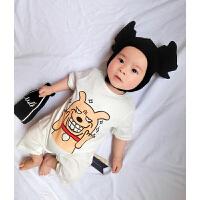 婴儿连体衣服宝宝新生儿季01岁9个月春款短袖睡衣平角爬服