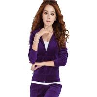 卫衣女装春秋季时尚天鹅绒运动套装刺绣大码跑步瑜伽服两件套 紫色 无刺绣 XXX