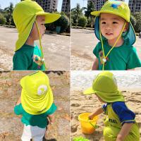 儿童遮紫外线沙滩遮阳帽透气男女宝宝护耳护颈海边游泳帽