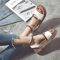 夏季原宿凉鞋厚底松糕鞋一字扣学生休闲高跟女鞋