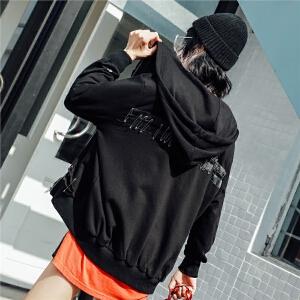 七格格黑色卫衣外套女春天季新款韩版百搭原宿风学生宽松bf连帽衫潮