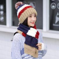 女士百搭围巾帽子两件套一体毛线帽子女 保暖加绒加厚防风帽新款针织帽