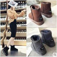 毛毛雪地靴女士新款冬潮韩版百搭一脚蹬短筒加绒保暖防滑棉鞋