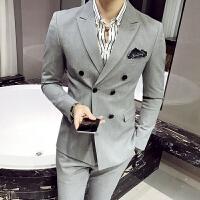 款英伦男士小西装韩版青年修身双排扣西服套装男三件套潮