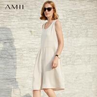 Amii极简欧洲站设计感chic连衣裙2018夏季新个性剪裁不规则背心裙