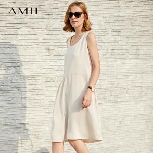 【会员节! 每满100减50】Amii极简欧洲站设计感chic连衣裙2018夏季新个性剪裁不规则背心裙