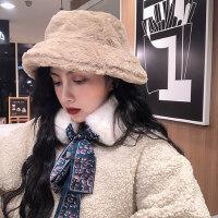 日系保暖休闲柔软礼帽女 韩版百搭毛绒盆帽 新款女士渔夫帽纯色帽子