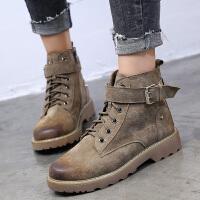 西瑞内增高马丁靴女秋冬款时尚真皮短靴单靴英伦潮女靴子MN996-1