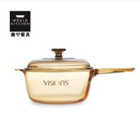 VISIONS康宁 透明玻璃锅 晶彩透明玻璃锅单柄奶锅汤锅VSP 2.5升单把玻璃锅锅