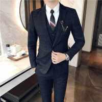 西服套装男三件套韩版修身秋季新郎结婚伴郎礼服休闲青年正装商务