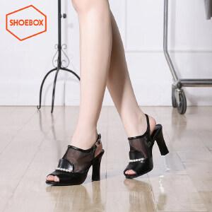 达芙妮旗下鞋柜时尚鱼嘴网纱凉鞋休闲酒杯跟高跟女鞋