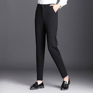 竖条纹西装裤女休闲小脚裤高腰女士裤子秋季显瘦大码弹力女裤
