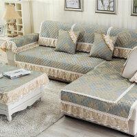福存家居 沙发垫坐垫布艺四季欧式沙发巾套罩飘窗垫裙边抱枕
