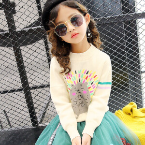 乌龟先森 儿童毛衣 女童秋季韩版新款时尚单色印花套头上衣休闲百搭中大童款式针织衫