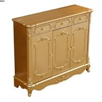 欧式金色鞋柜玄关台推拉门储物柜用放在门口美式轻奢橡木实木 组装