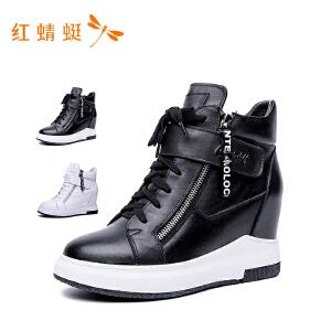 红蜻蜓新款高帮平跟纯色休闲女单鞋