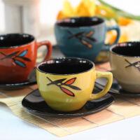 普润 日韩复古色釉陶瓷茶具12套件杯子杯垫四色混发