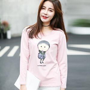 秋冬季新款女装秋装韩版宽松长袖T恤女卡通圆领印花外穿上衣服