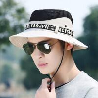 韩版潮防晒钓鱼帽男士帽子时尚帽子男渔夫帽中青年遮阳帽太阳帽