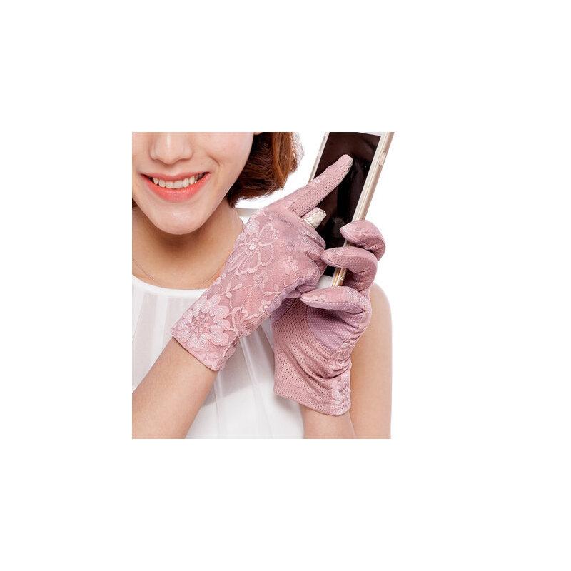 短款触摸屏双层蕾丝开车手套防晒女夏春天防紫外线手套 品质保证 售后无忧