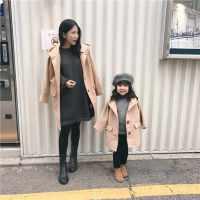 2017秋冬新款亲子装母女装毛呢大衣外套女童宝宝妮子大衣潮
