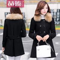 【赫��】2016秋冬新款女装呢大衣毛呢外套韩版大码修身中长款毛领呢子H6525