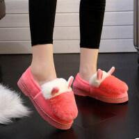 女士冬季家居家室内月子棉鞋防滑可爱拼色韩版厚底保暖包跟棉拖鞋