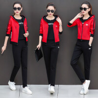 韩版卫衣三件套秋季宽松运动服女装休闲运动套装女潮