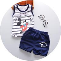 夏季童装女童婴儿宝宝套装儿童吊带背心加短裤两件套潮