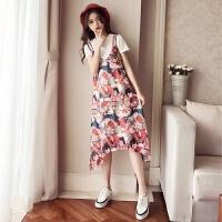 背带裙两件套2018夏新款韩版宽松中长款印花雪纺吊带连衣裙女套装 图片色