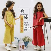 2018夏季韩版新款两件套女童纯棉糖果色无袖上衣+喇叭阔腿裤套装