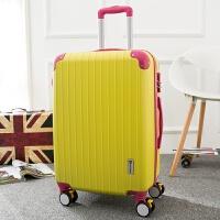 红色结婚箱拉杆箱万向轮旅行箱包行李箱女20寸24寸28皮箱陪嫁 黄色撞玫红 带扩展条纹款