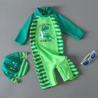 新款儿童泳衣男童连体绿恐龙条纹可爱宝宝婴儿泳裤带防晒帽度假 冲浪恐龙