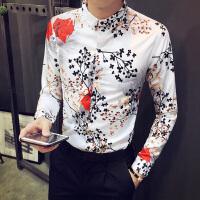 新款花衬衫男长袖潮男秋装男士衬衣韩版休闲个性衣服夜店寸衫