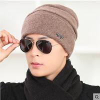韩版男士纯色毛线帽 金属字母装饰 加绒加厚防风 休闲保暖包头帽