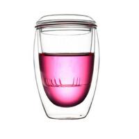 耐热玻璃杯 三件式 过滤带盖办公杯