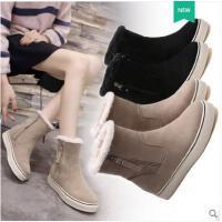 雪地靴女新款厚底内增高冬季百搭韩版棉鞋子加绒短筒马丁靴潮