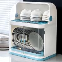 厨房置物架塑料碗柜家用碗架碗筷收纳盒带盖放餐具装碗箱碟盘沥水